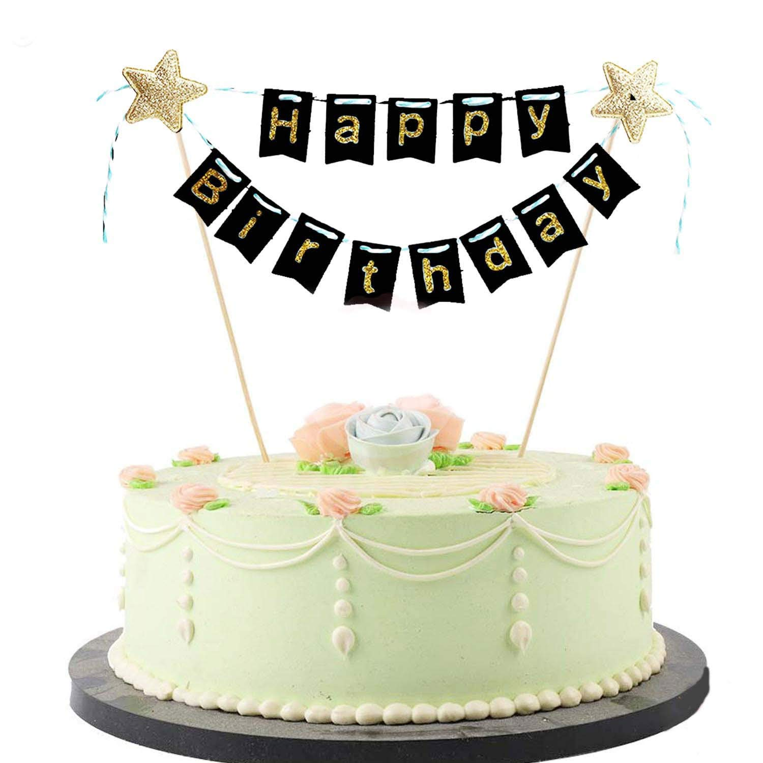 Buy Partymane Happy Birthday Paper Cake Topper For Cake Decoration Black Online At Low Prices In India Amazon In