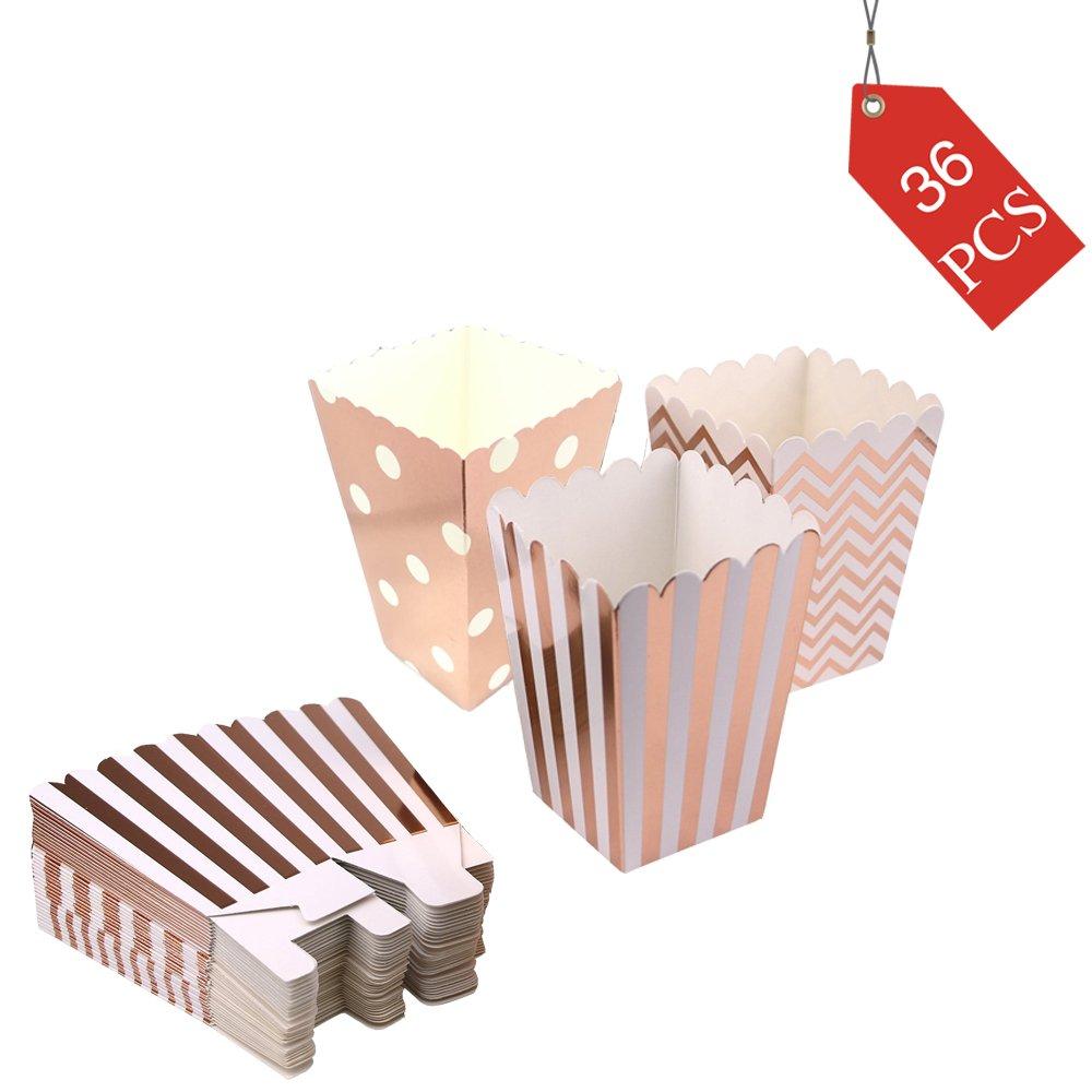 Popcorn Boxes Cardboard Candy Boxes Container Polka Dot Stripe Chevron Ripple,For Birthday, Bridal and Baby Shower,Carnival/Graduation/Party/Movie/Fiesta,Dessert Tables Wedding Party Supplies 36pcs
