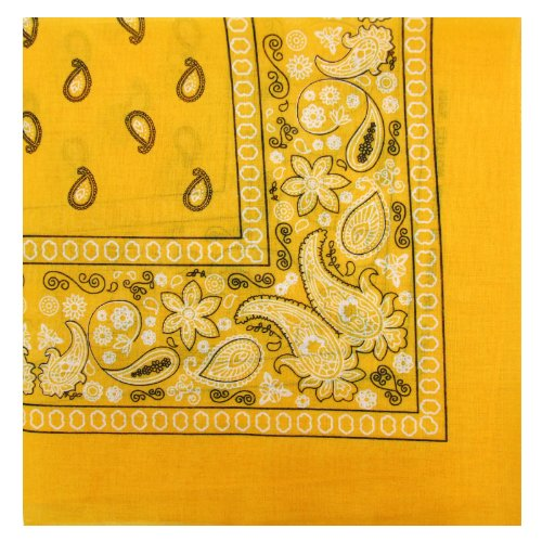 Novelty Bandanas Paisley Cotton Bandanas (Yellow/Gold, 22 X 22 in) (Bandana Yellow Paisley)