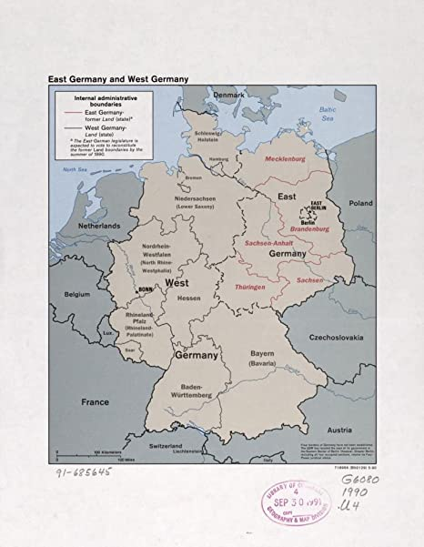 Amazon.com: Vintage 1990 Map of East Germany and West ...