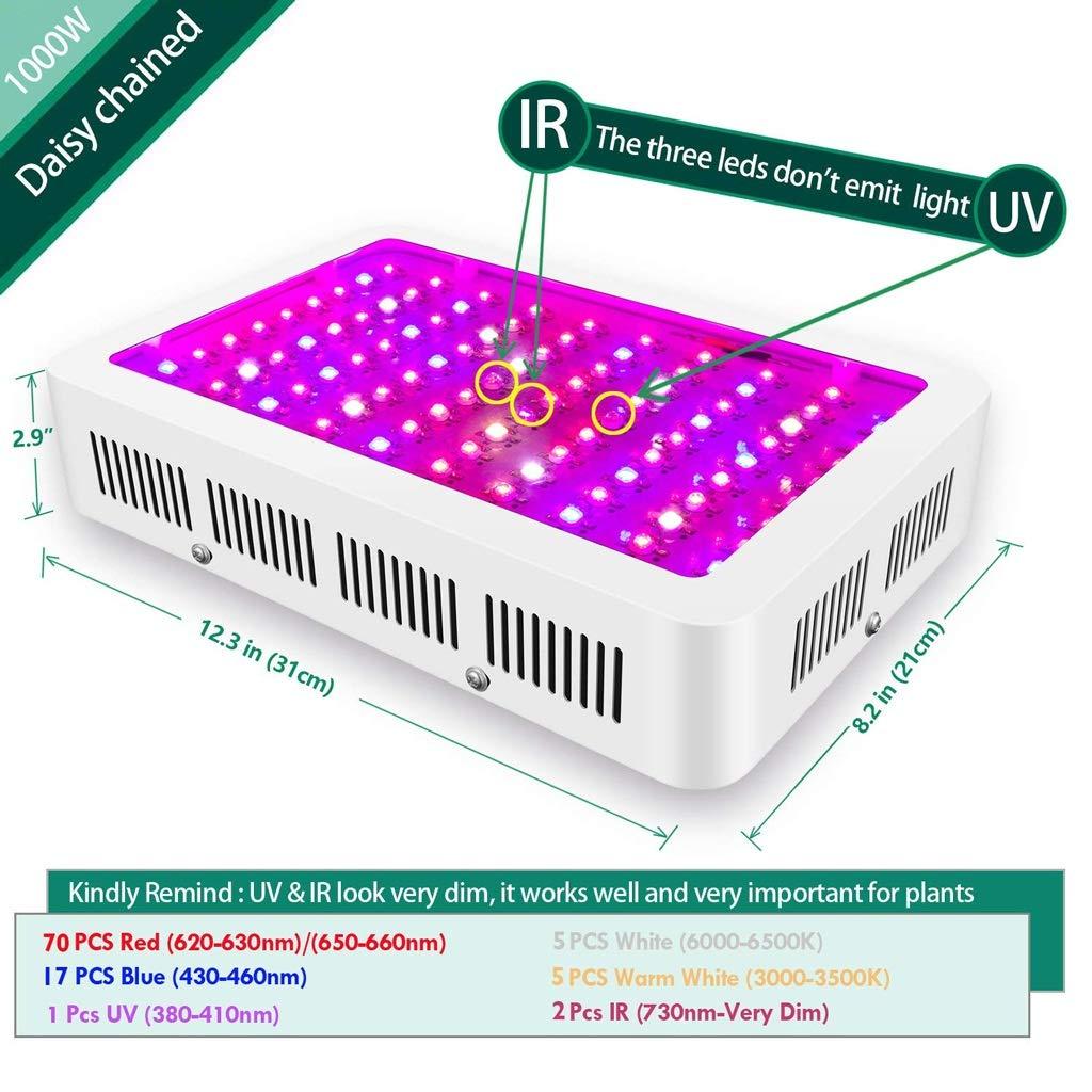 種子成長機- LED植物成長ライト - 1000WデュアルコントロールプラントライトセグメンテーションコントロールVEG / BLOOM温室野菜成長ライト (色 : 1000W) B07SBLFVPZ 1000W