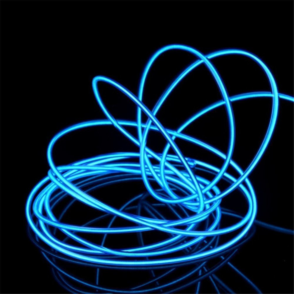 jiguoor EL Wire 16.4ft// 5M with Battery Pack Super Bright Light Neon Tube Neon Glowing strobing of 360 Degrees of Illumination for Party Decoration Red,16.4ft// 5M