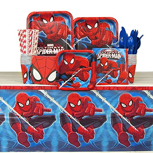 Spiderman Party Pack for 16 Guests: Straws, Plates, Napkins, Cups, Cutlery and Table Cover (Bundle for 16)
