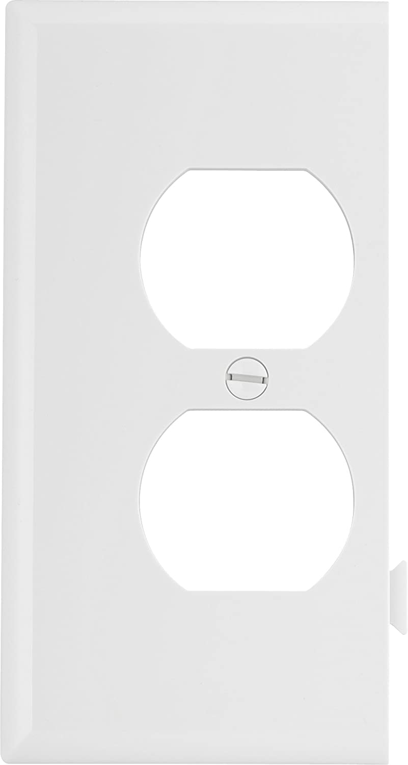 EATON Wiring STE8W Polycarbonate 1-Gang Duplex Receptacle Sectional Mid Size Wall Plate, White