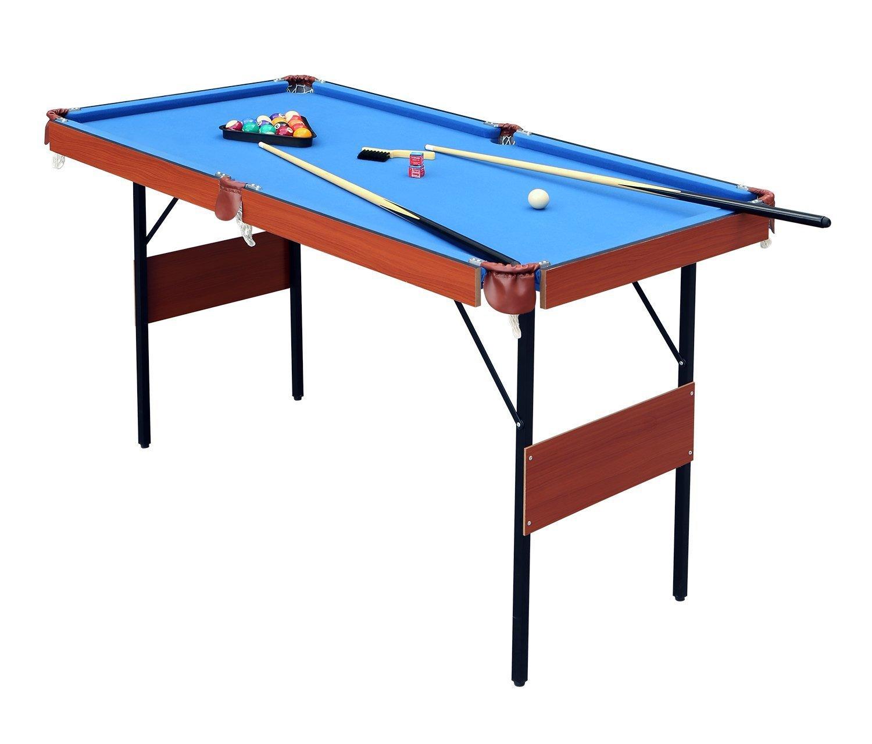 HLC Mesa de Billar Snooker (139.5*74.7*80 cm)  Tapizado Azul,