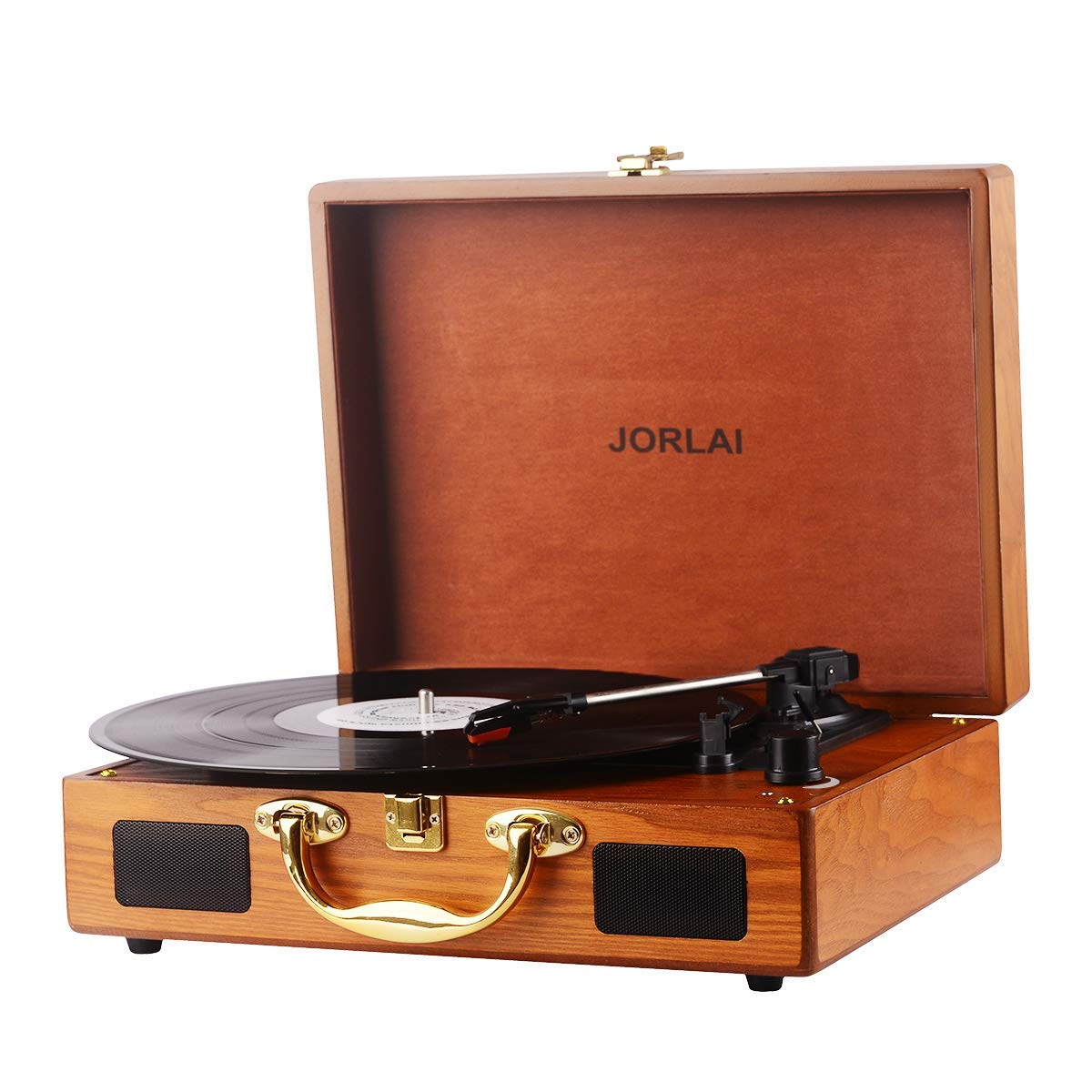 JORLAI Vinyl Record Player, 3 Speed Suitcase Turntable with Speakers, Portable LP Vinyl Player Aux-in, Headphone Jack, and RCA Output - Natural Wood by JORLAI (Image #8)