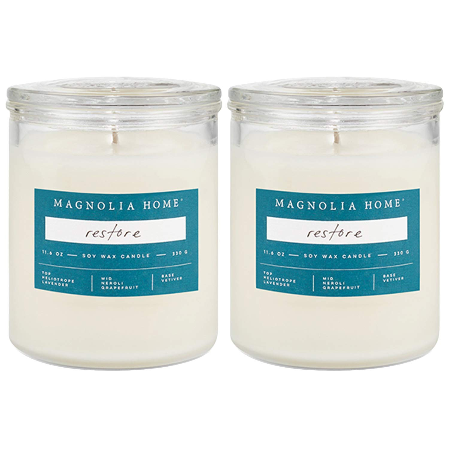 Magnolia Home Restore Scented Soy Wax 11.6 oz Glass Candle Jar with Lid by Joanna Gaines- Illume Pack of 2