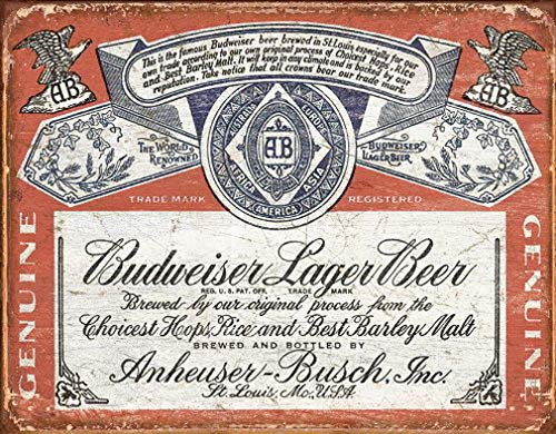 Eeypy Budweiser Historic Label Distressed Retro Vintage Tin Sign, 16x13 (Sign Budweiser Label Tin)