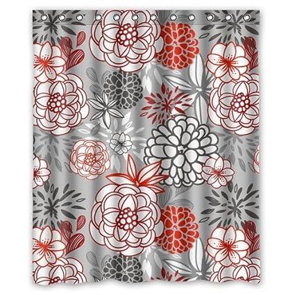 Retro Christmas Shower Curtain Pink Grey Flowers Patterns Decorations Fashion Personalize Custom Bathroom