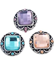 RainBabe Fixed Mixed Square Rhinestone DIY Snap Button Jewelry Charms 20mm Pack of 3pcs