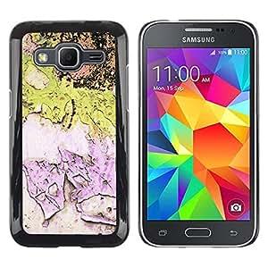 FECELL CITY // Duro Aluminio Pegatina PC Caso decorativo Funda Carcasa de Protección para Samsung Galaxy Core Prime SM-G360 // Chipped Paint Pink Green Wall Rustic