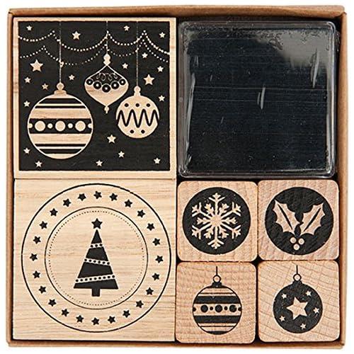 Rico Design - Set Modern Christmas Composto Da 6 Timbri (Di Diverse Misure) Ed Un Cuscinetto A Inchiostro