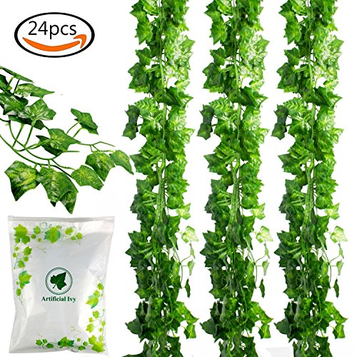 JPSOR 24pcs (157 Feet) Artificial Greenery Fake Ivy Leaves Garland Hanging for Wedding Party Garden Wall Decoration (Ivy Wedding Garland)
