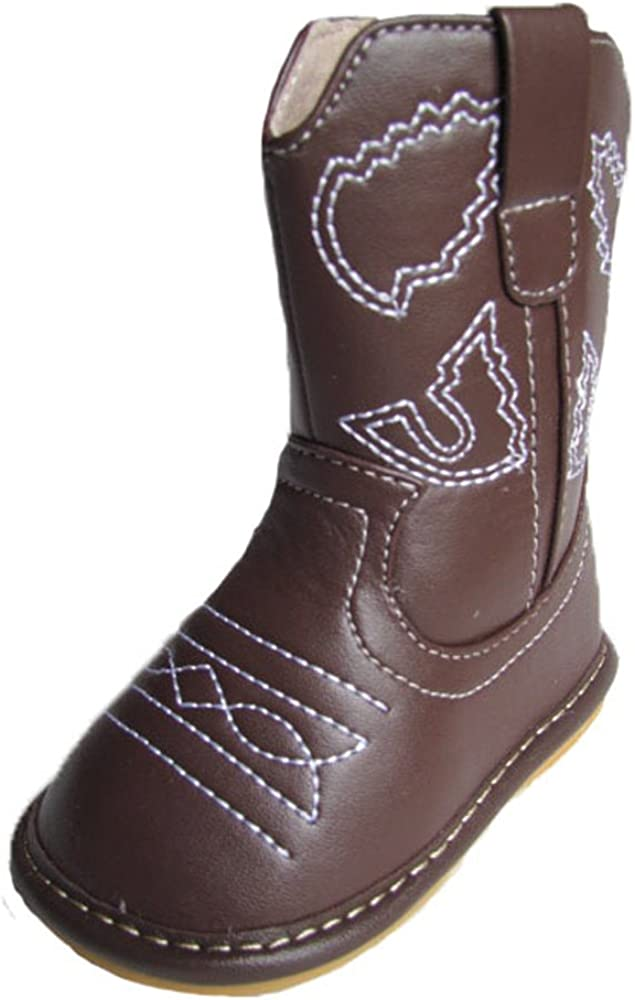 Squeaky Shoes Toddler Dark Brown Leather Cowboy//Cowgirl Boots