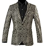 Yayu Mens Vintage Long Sleeve Hip-Hop Cotton Leopard Print Suit Jackets 1 M
