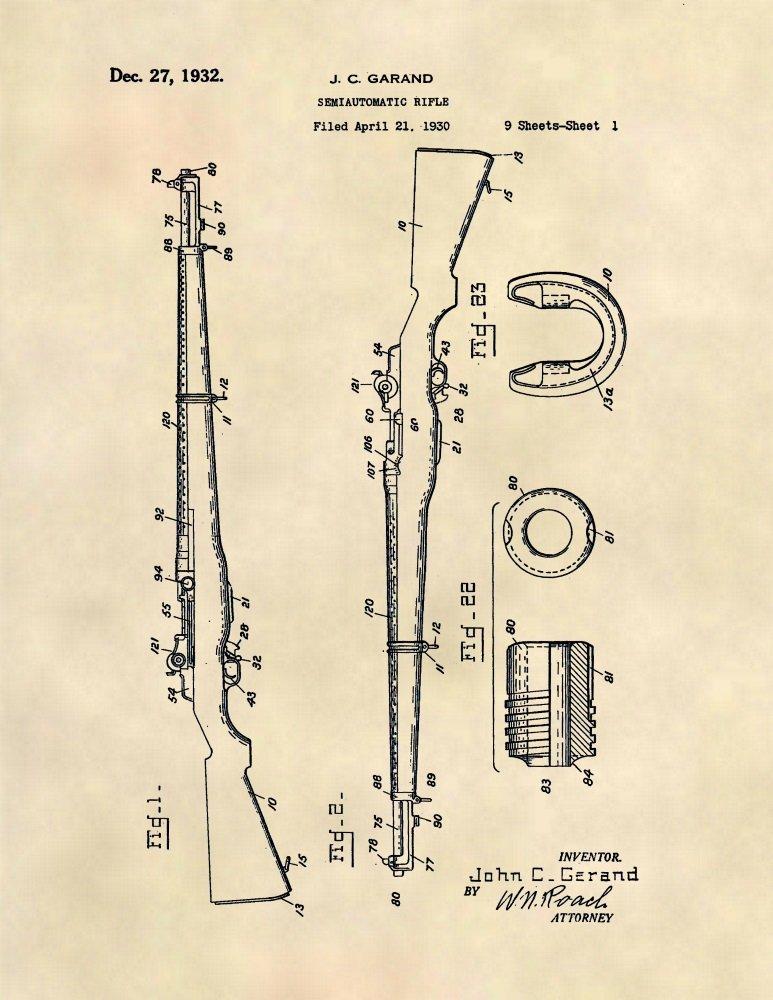 Patent Prints - M1 Garand Patent Art - Gun Wall Art Poster (8.5 x 11