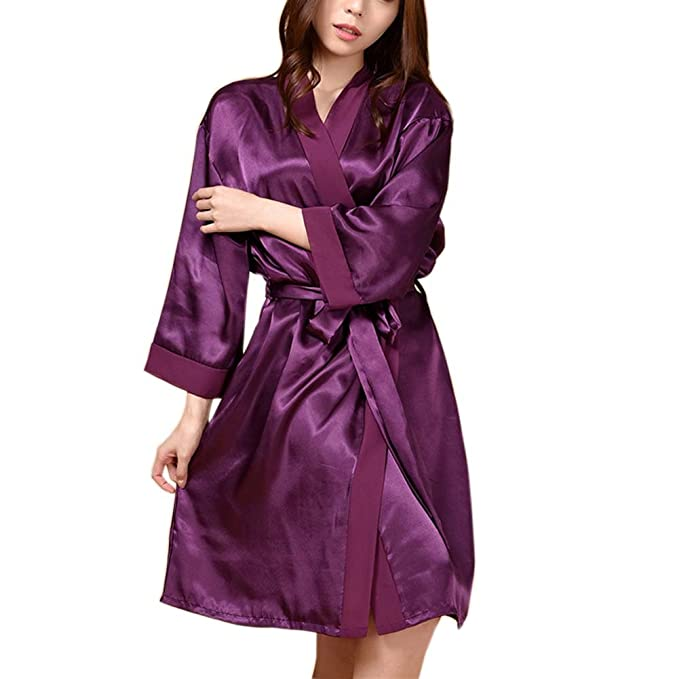 Manga Larga Gasa Pijamas Chándal Loose Nightgown Albornoz Batas SPA -Purple: Amazon.es: Ropa y accesorios