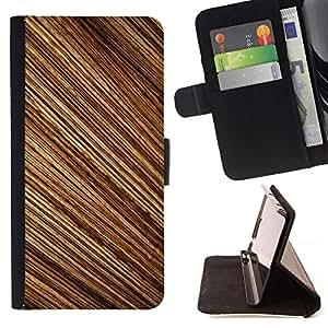 Momo Phone Case / Flip Funda de Cuero Case Cover - Patrón de rayas aleatorias Madera Dise?o Brown - Huawei Ascend P8 (Not for P8 Lite)