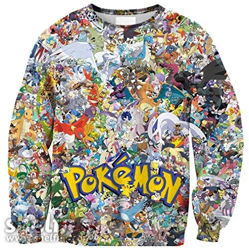 Misomi Women's Cartoons Anime Print Tops Pullovers Large Pokemon-Invasion