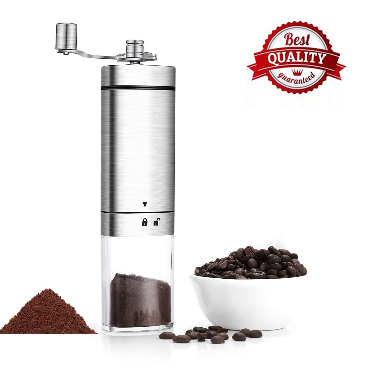 Manual Coffee Grinder,Conical Burr Mill With Adjustable Setting,Portable Hand Crank Coffee Grinder For Travel,Brushed Stainless Steel,Best For Espresso,French Press,Home Kitchen,Office,Travel by KEESON