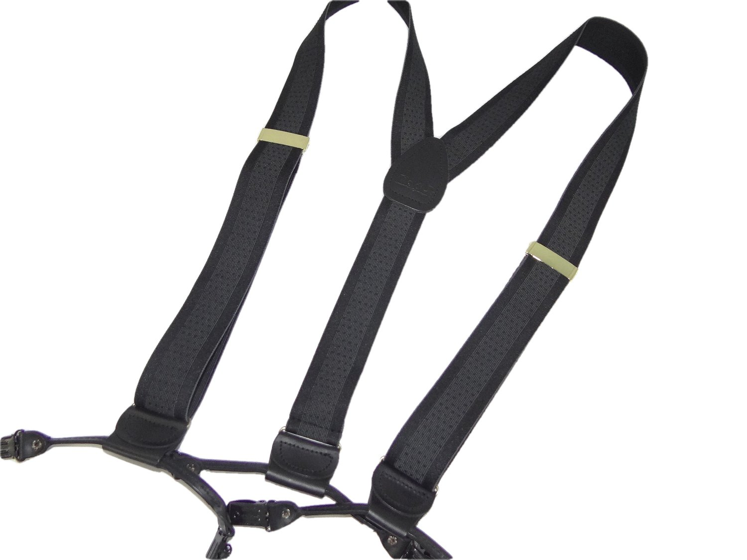Hold-Up Jacquard Series Black Onyx stripe Men's Dual Clip Suspenders with no-slip clips