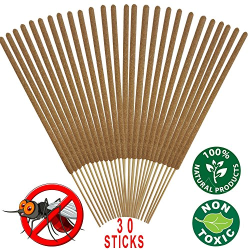 Mosquito Sticks - All Natural Insect Repellent Incense Sticks - Eco friendly - non toxic - Bamboo Infused with Lemongrass & grapefruit peel (Pack of 30)