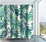 Tree Shower Curtain Get Orange Tropical Plants Cartoon Palm Trees Banana Leaves Shower Curtain Mildew Resistant Polyester Fabric Bathroom Fantastic Decorations Bath Curtains Hooks Included 72X72 Inch