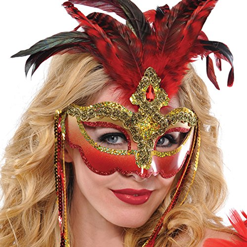 Luxe Red Feather Masquerade Mask Deluxe -