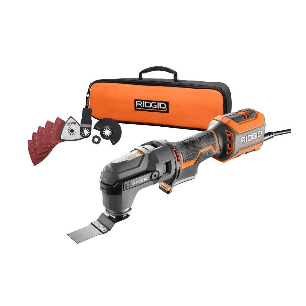 """Ridgid R28602 JobMax 4 Amp Corded Multi Tool with Replaceable Heads (Sander Head, Sanding Pads, Crescent Saw and 1 1/8"""" Wood Cutting Blade Included) by Ridgid"""