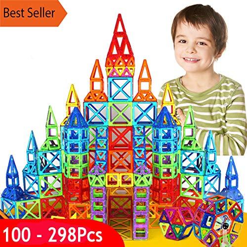 PPH3 Shine 100-298Pcs Blocks Magnetic Designer Construction Set Model & Building Toy Plastic Magnetic Blocks Educational Toys for Kids Gift (150 Pcs) by PPH3 Shine (Image #2)