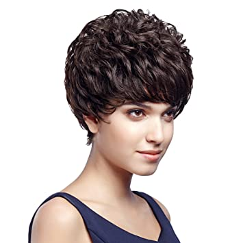 SLEEK 5 quot  Human Hair Wigs Short Curly Pixie Wig with Brazilian Hair  (DARK BROWN 0961e2c7c
