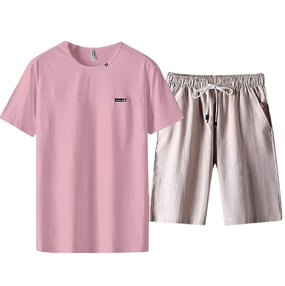 Coolred-Men 2 Piece Short Sleeve Casual Fashional Solid Tracksuit Top /& Bottoms Set