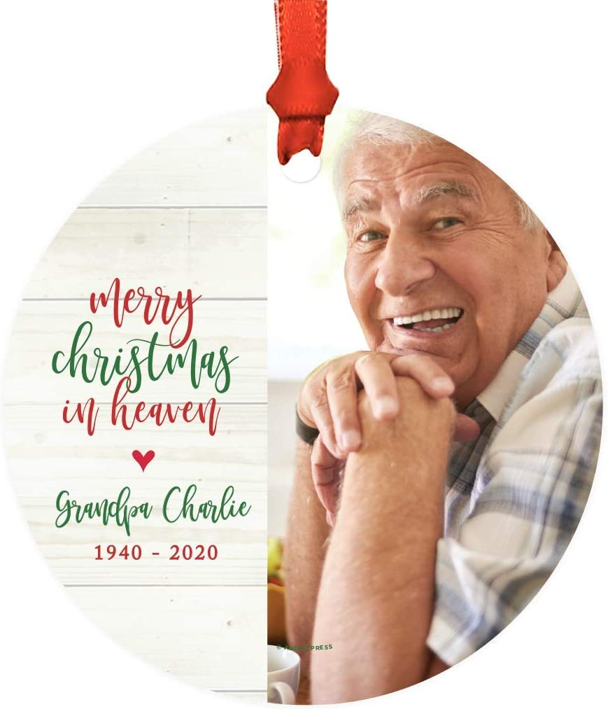 Andaz Press Photo Personalized Memorial Round Metal Christmas Ornament, Merry Christmas in Heaven, Grandpa Charlie, 1940-2020, 1-Pack, Custom, Includes Ribbon and Gift Bag