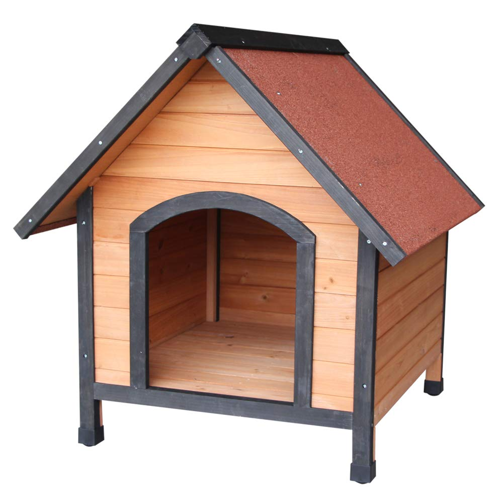Kuyal Dog House,Wooden Outdoor & Indoor Dog/Cat House Home with Reddish Brown Roof, Pet Kennel, Pet Dog House
