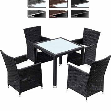 Miadomodo Salon de jardin terrasse Noir - Ensemble 4 chaises - en ...