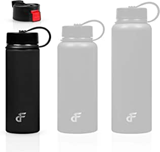 Day 1 Fitness Stainless Steel Water Bottle Wide Mouth with 2 LIDS (20oz, 32oz, or 40oz) - 3 Size, 8 Color, and Multi-pack Options – Vacuum Insulated, Double Walled, Powder-Coated Sweat Proof Thermos