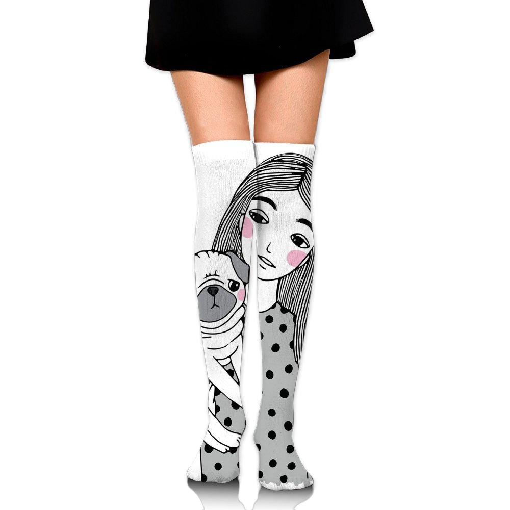 TRUSTINEEgyl Woman's Girl Holding Her Pug Sad Looking Animal Affection Between A Pet And College Style Warm Crochet Socks