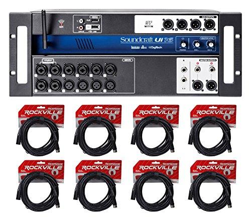 (Soundcraft Ui16 16 Input Digital Wifi Mixer+App Control+Recording+(8) XLR Cables)