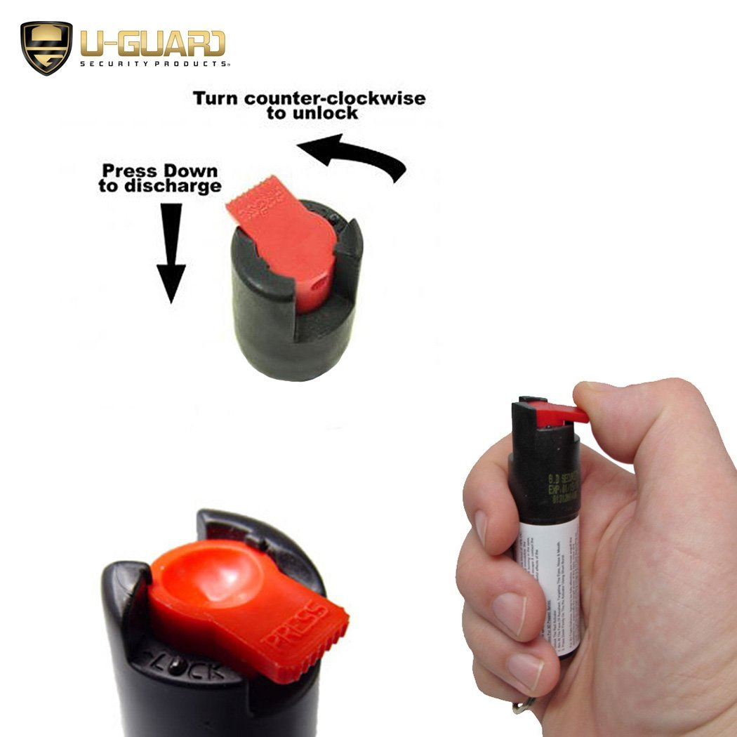 Self-Defense Weapons Kit Electric Stun Gun Pepper Spray Keychain Combo - Includes Heavy Duty Police Rechargeable Tazer With Flashlight & Enforcement Grade Pepper Spray Key Chain For Women Or Men by U-Guard Security Products (Image #7)
