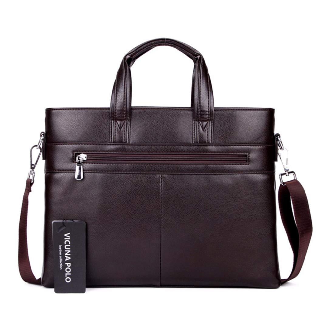 Famous Simple Mens Leather Briefcase Bag Solid Large Business Laptop Handbag Pasta Executiva Set brown