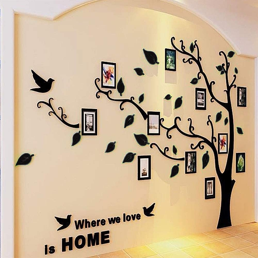 Beddinginn Tree Wall Sticker with Famliy Picture Frames DIY Branches Photo Gallery Frame Decor for Office and Home 118×72 Inches (Black Leaves,Right)
