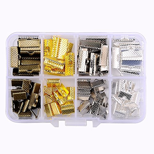 - In A Box(120pcs/box) Kit with Mixed Color 10mm and 16mm Ribbon Bracelet Bookmark Pinch Crimp Clamp End Findings Cord Ends Leather Crimp Ends Fasteners Clasp Jewelry Making Findings