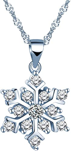 Blue Crystal CZ Heart Pendant 925 Sterling Silver Clavicle Wave Chain Necklace