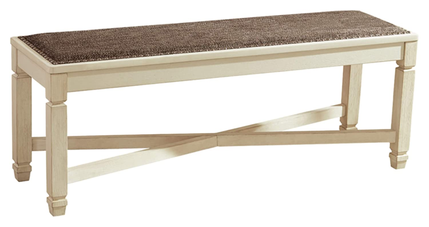 Ashley Furniture Signature Design - Bolanburg Upholstered Dining Room Bench - Two-tone - Textured Antique White Finish