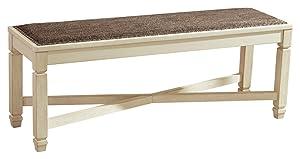 Ashley Furniture Signature Design - Bolanburg Upholstered Dining Room Bench - Two-tone - Textured Antique White Finish