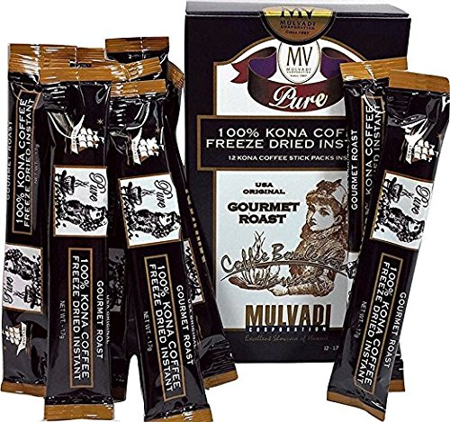 Hawaii 100% Kona Coffee Freeze Dried Instant 12 Individual 1.7g Packets by Mulvadi Corporation