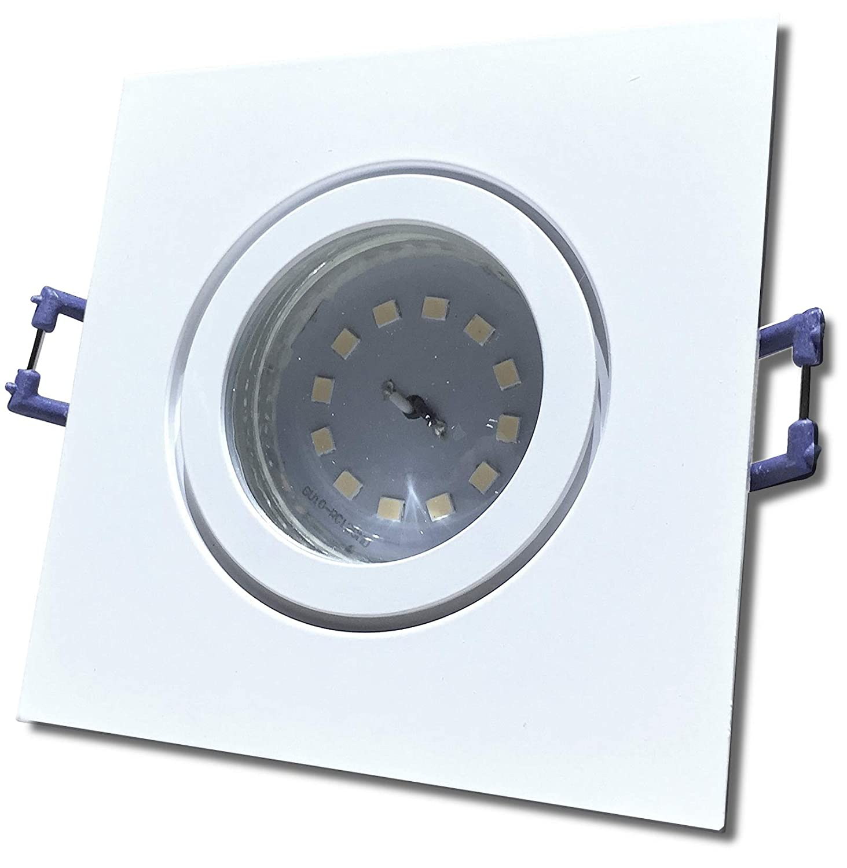 4 Stück IP44 SMD LED Bad Einbauleuchte Neptun 230 Volt 5 Watt 3-Stufen Dimmbar Eckig Weiß Warmweiß
