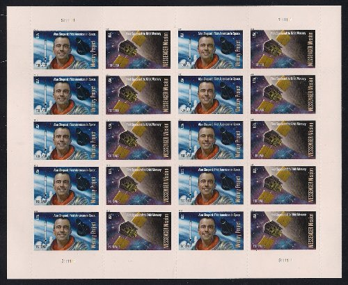 - USPS Space Firsts Mercury Project and Messenger Mission Sheet of 20 Stamps Scott 4527-4528