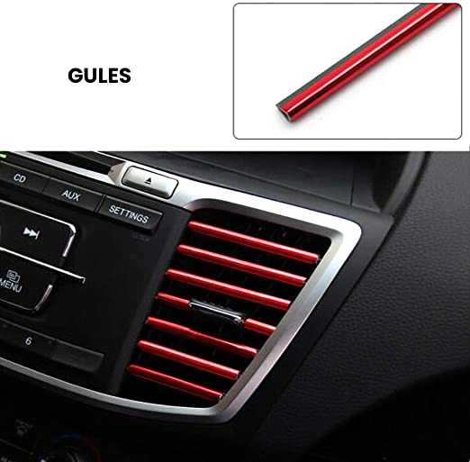 Everrich 10 Pcs Car Interior Moulding Trim Car Air Conditioning Air Outlet Colorful Film Car Interior Exterior Decoration Seal Strip Strip Line Rainbow