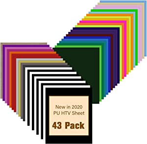 "JANDJPACKAGING HTV Heat Transfer Vinyl Bundle - 43 Pack 12"" x 10"" PU Iron on Vinyl for T-Shirt, 32 Assorted Colors HTV Vinyl for Cricut, Silhouette Cameo or Heat Press Machine"